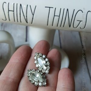 vintage 1950s rhinestone earrings silver colored